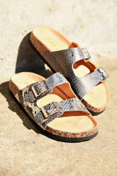 Live It Up Sandals - Pewter Snake