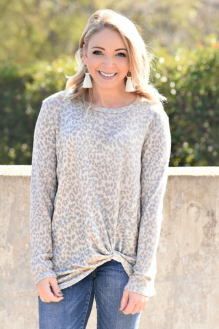 Make The Call Knot Top - Leopard
