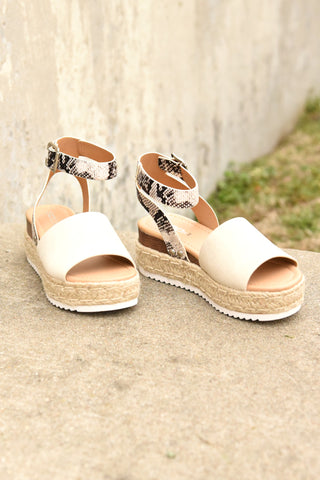 The Weekender Platforms - Taupe Canvas