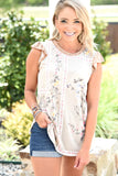 Floral Meadows Top - Taupe