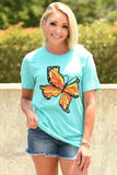 Texas Monarch Tee - Teal