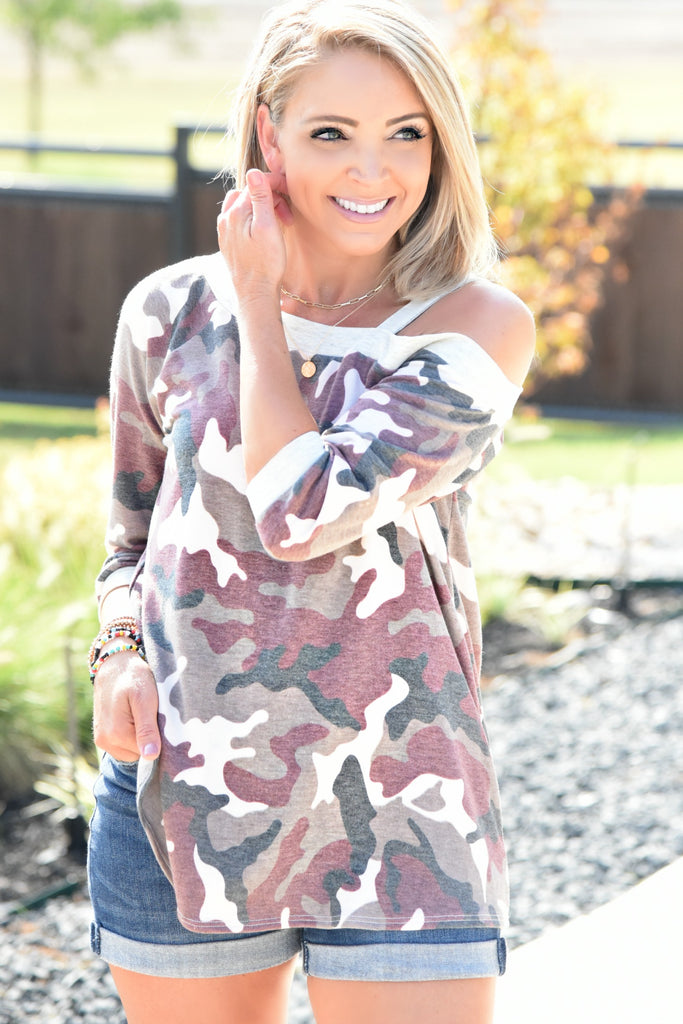 Come Back To Me Top - Burgandy Camo