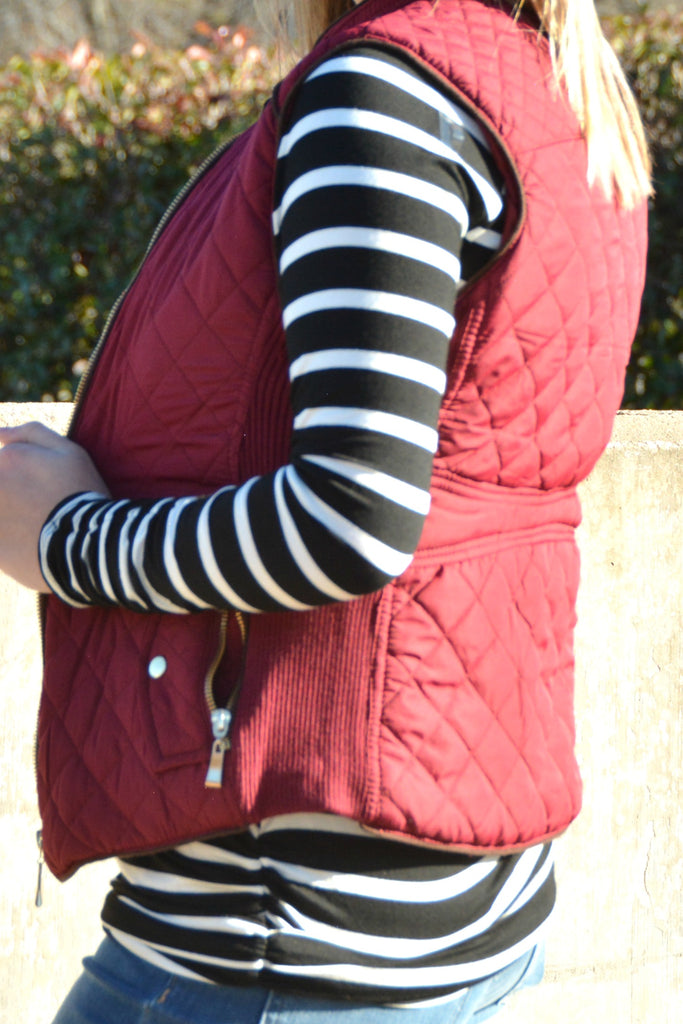 Warm Up Quilted Vest - Burgundy