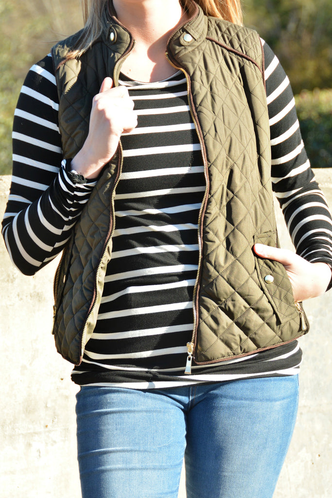 Warm Up Quilted Vest - Olive