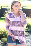 Easy Days Striped Top - Mauve