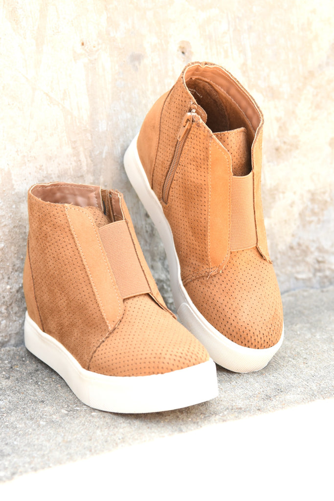 On The Go Wedge Sneaker - Tan
