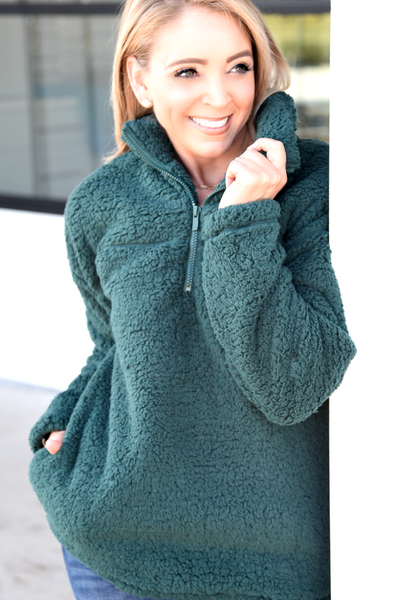 Simple Things Pullover - Hunter Green