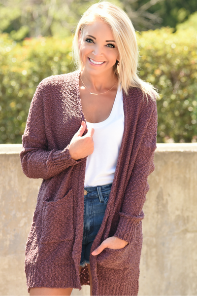 Love Is In The Air Cardigan - Plum