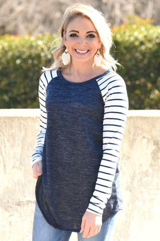Almost Gone Striped Top - Navy