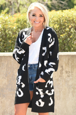 On The Prowl Cardigan - Black
