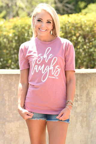 She Laughs Tee - Heather Blush
