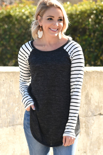 Almost Gone Striped Top - Black