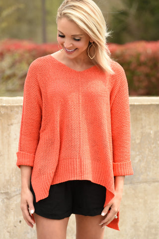 Feel The Love Sweater - Coral