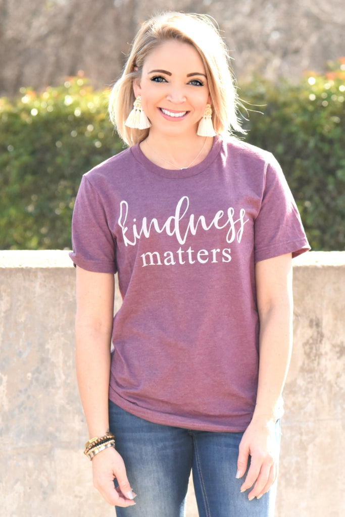 Kindness Matters Tee - Heather Maroon