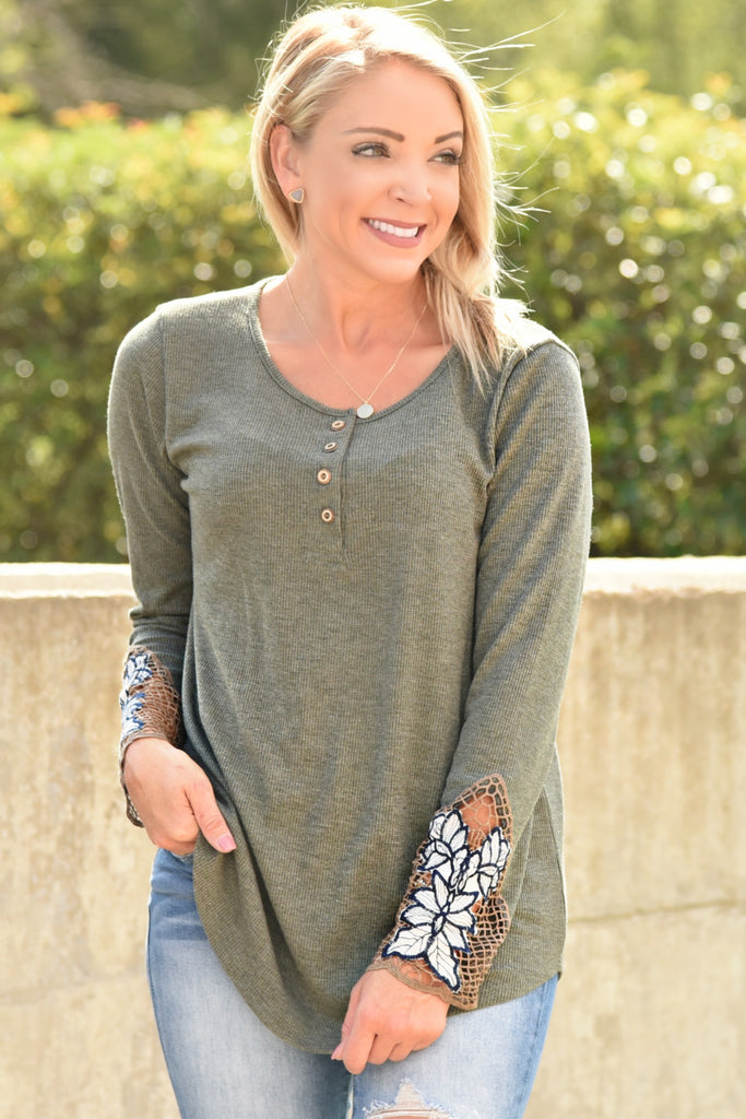 I Found Love Top - Olive