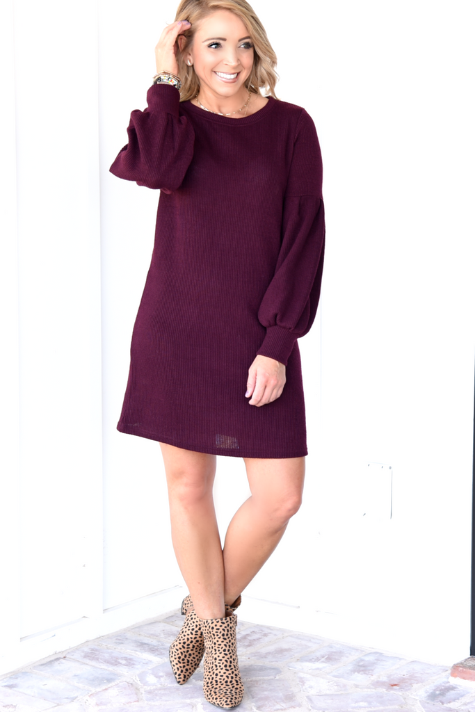 Autumn Chic Dress - Dark Plum