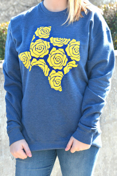 Yellow Rose Sweatshirt - Navy