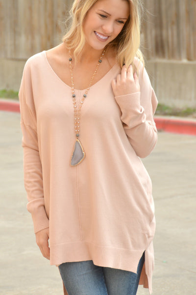 Simply Heaven V-Neck Sweater - Blush