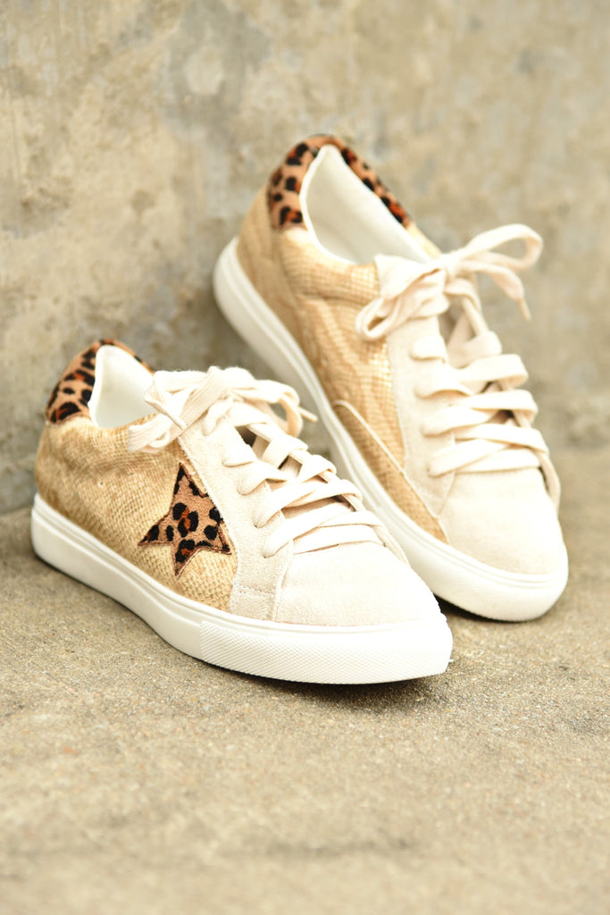 Let's Get Away Sneakers - Gold Snake
