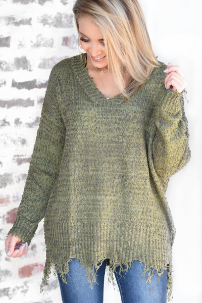 Around The Fireside Sweater - Olive