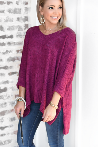 Feel The Love Sweater - Magenta