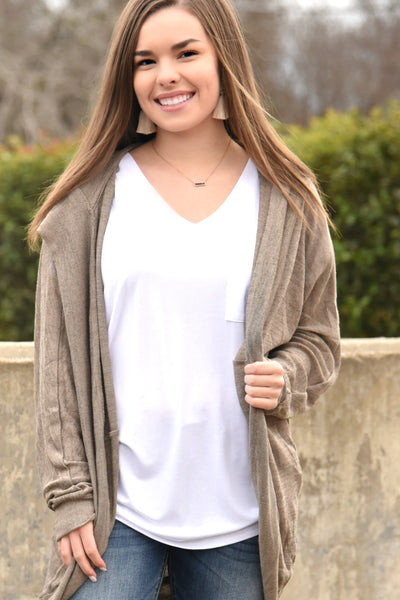 Hold On To Me Cardigan - Taupe