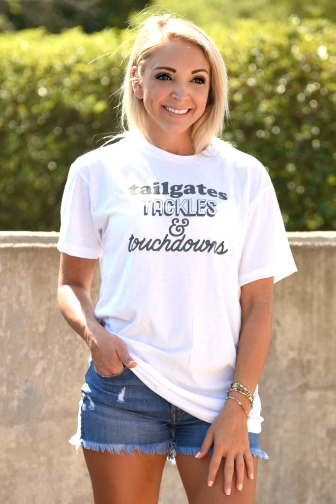 Tailgates Tackles Touchdowns Tee - White