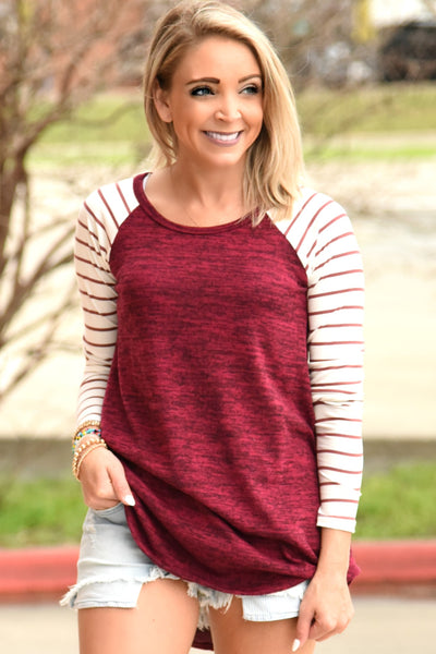 Almost Gone Striped Top - Burgundy