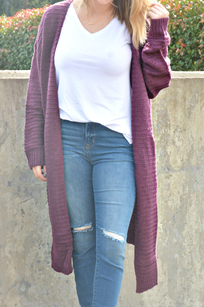 You Got This Cardigan - Plum