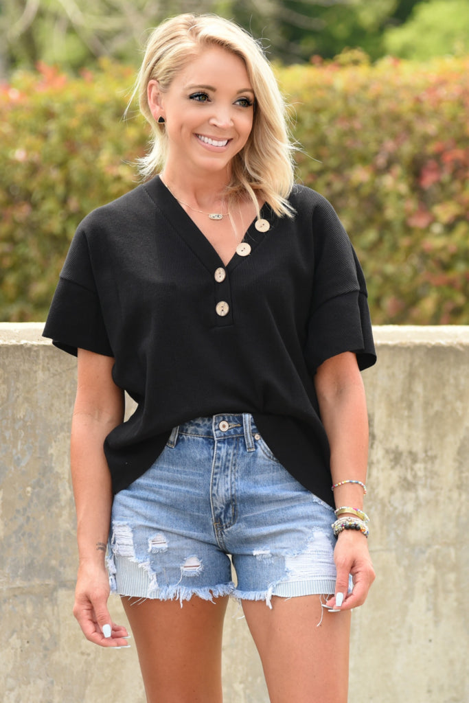 Out With Me Top - Black