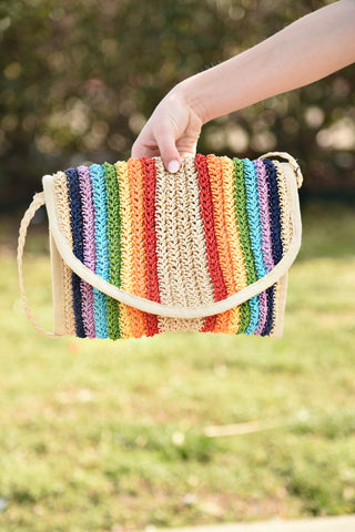 Rainbow To Paradise Straw Clutch