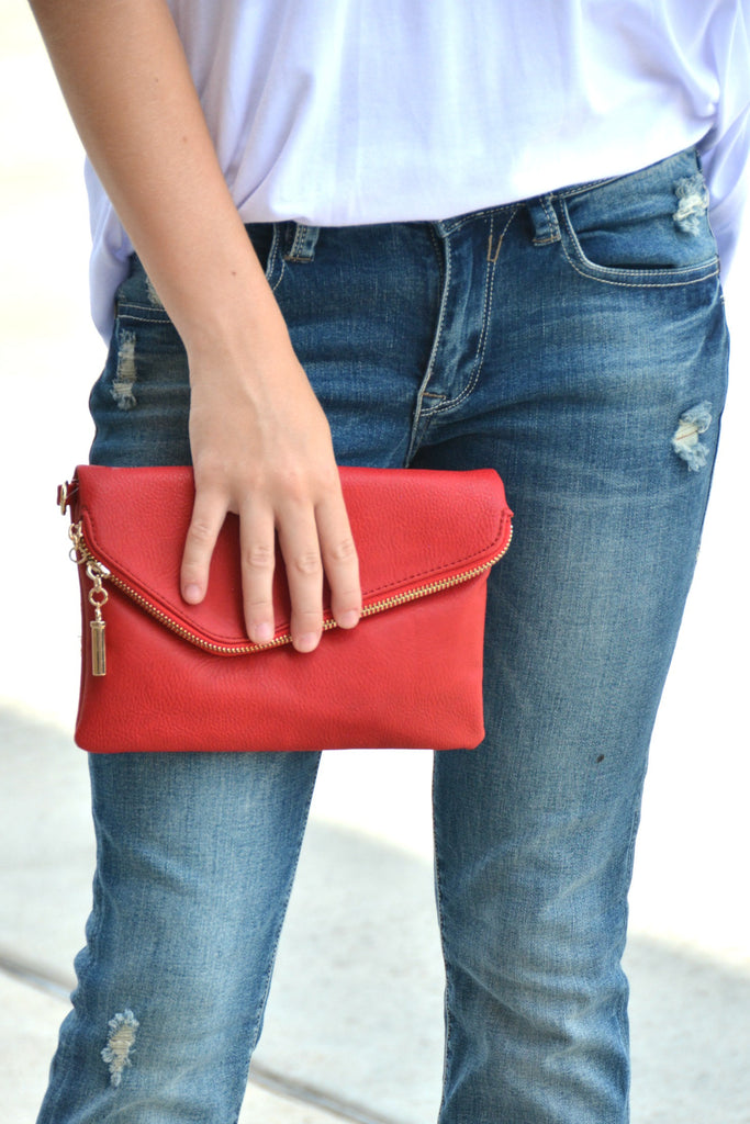 The Breanna Clutch - Red