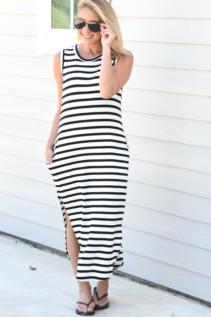 Sweet And Sassy Striped Dress - Black/White