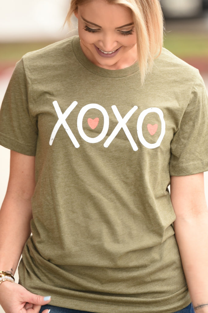 XOXO Tee - Heather Olive