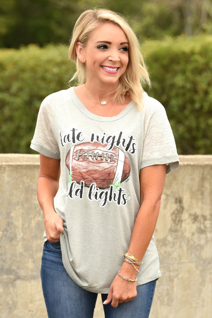 Late Nights, Field Lights Tee - Grey