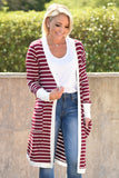 Easy To Love Striped Cardigan - Burgundy