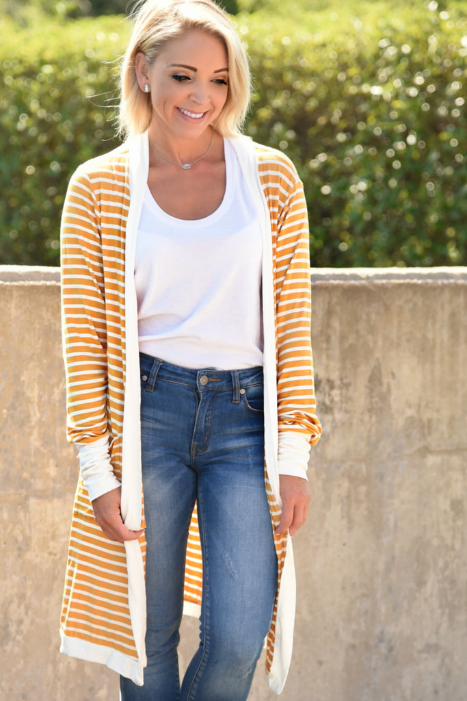 Easy To Love Striped Cardigan - Mustard