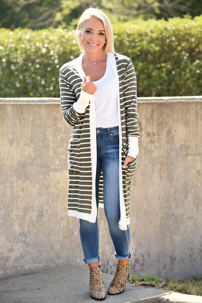 Easy To Love Striped Cardigan - Olive