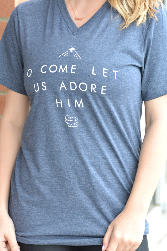 Let Us Adore Him Tee - Navy