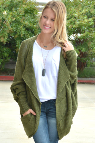 When I'm With You Cardigan - Olive