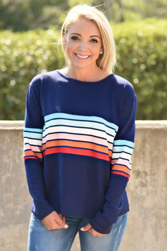 Sidelines Striped Top - Navy