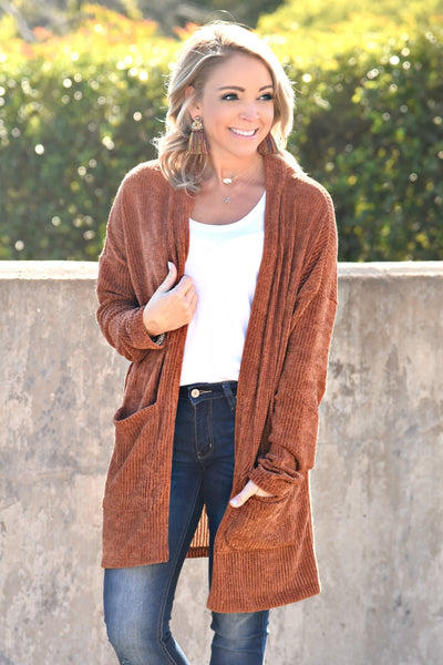All For Fall Cardigan - Rust