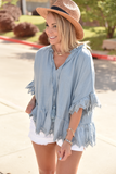 The Serena Top - Dusty Blue