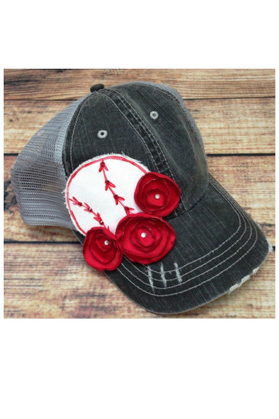 GRAY SPORTS CAP WITH ROSES