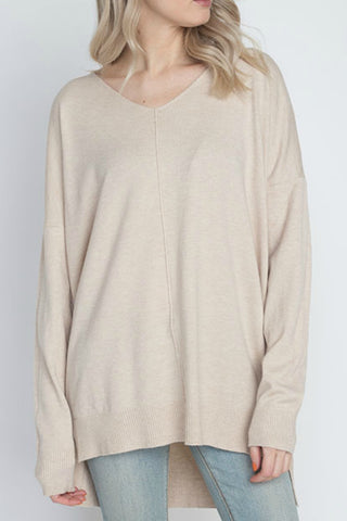 Simply Heaven V-Neck Sweater - Oatmeal