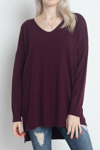 Simply Heaven V-Neck Sweater - Burgundy