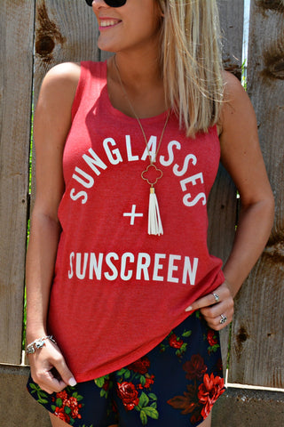 Sunglasses And Sunscreen Tank Top