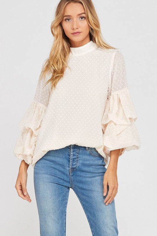 bubble-sleeve-blouse