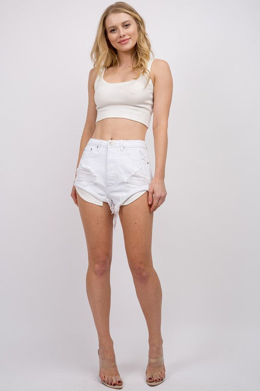 White Rolled Cut Offs