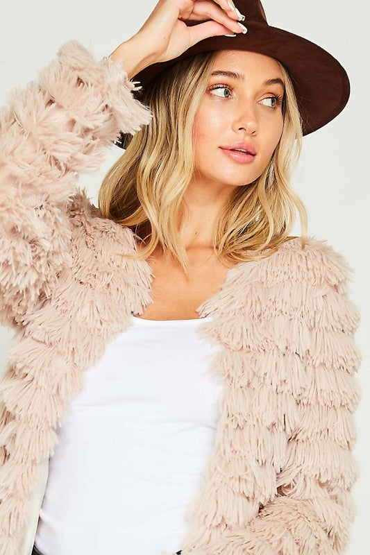 Call Me Maybe Long Shaggy Tiered Jacket (2 Colors)